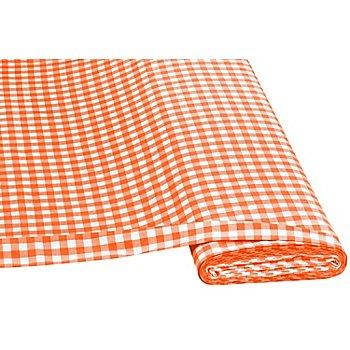 Tissu coton 'carreaux vichy', 1 x 1 cm, orange/blanc