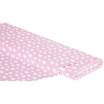 Tissu coton 'petits nuages', rose/blanc