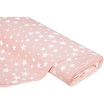 Sweatstoff 'Stars', rosa-melange/weiss