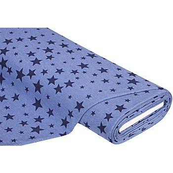 Sweatstoff 'Stars', jeans-melange/dunkelblau