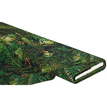 Baumwollstoff-Digitaldruck 'Tannenzweige Ria', grün-color