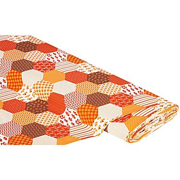 Tissu coton 'hexagones patchwork', multicolore