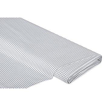 Baumwollstoff Vichykaro 'Mona', mittelgrau/weiß, 3 x 3 mm