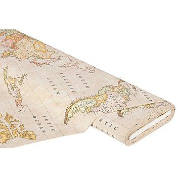 Tissu de décoration 'mappemonde', écru multicolore