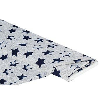 Feinstrick Sternen-Stempel, grau-meliert/dunkelblau