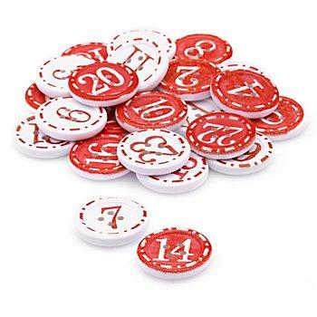 Boutons déco 'chiffres pour calendrier de l´Avent', rouge/blanc