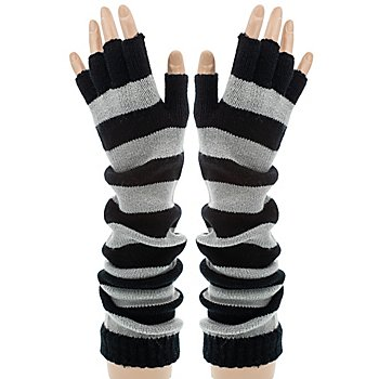 Strickhandschuhe  'Grey Stripes', 41 cm