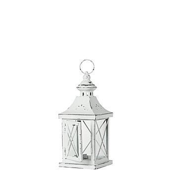 Lanterne rustique, blanc, 11 x 11 x 27 cm