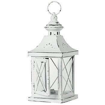 Lanterne rustique, blanc, 17 x 17 x 40,5 cm