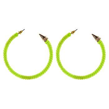 Boucles d'oreilles 'années 80', vert fluo