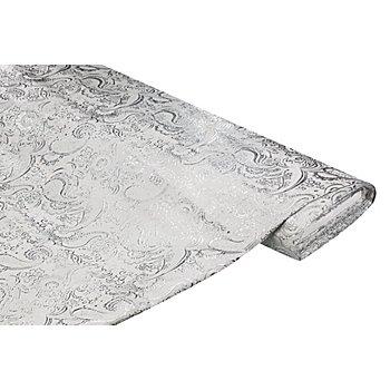 Brokat 'Blumen/Paisley', weiß/silber
