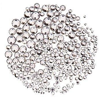 Strasssteine, transparent, 2–7 mm Ø, 300 Stück