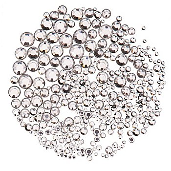 Pierres strass, cristal, 2-7 mm Ø, 300 pièces