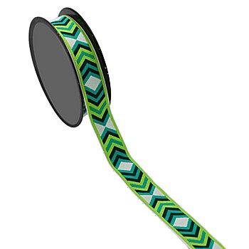 Band 'Zackenborte', grün-weiß, 18 mm, 3 m