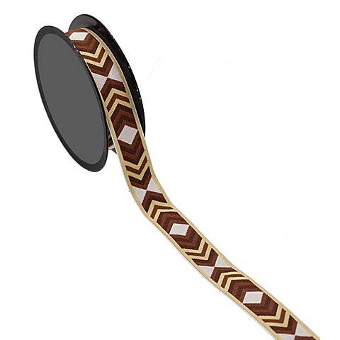 """Image of Band """"Zackenborte"""", braun-weiss, 18 mm, 3 m"""