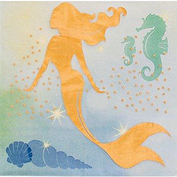 Papierservietten 'Meerjungfrau', metallic, 33 x 33 cm, 12 Stück