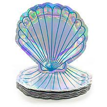 Assiettes en carton 'sirène', argent, 8 pièces