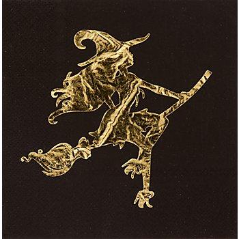 Serviettes en papier 'fête de la sorcière', métallique, 33 x 33 cm, 20 pièces
