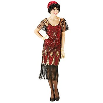 buttinette Paillettenkleid '20er', rot-gold