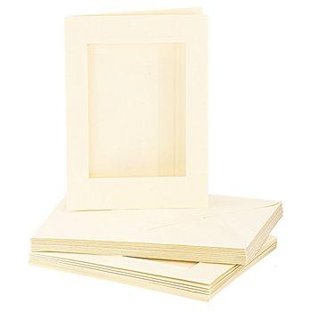Passepartoutkarten & Hüllen, rechteckig, beige, A6 / C6, je 10 Stück