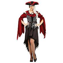 Piratenkleid für Damen, weinrot/silber