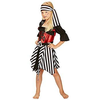 Piratin-Kostüm für Kinder, schwarz/rot