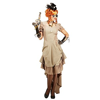 Steampunk-Kleid 'Loretta' für Damen, taupe