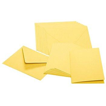 Set cartes doubles + enveloppes, jaune, 10 cartes + 10 enveloppes