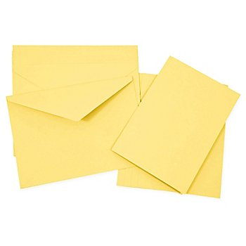 Set de 5 cartes doubles et enveloppes, jaune, A5/C5