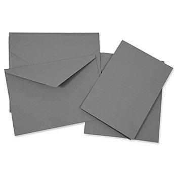 Doppelkarten & Hüllen, grau, A5 / C5, je 5 Stück
