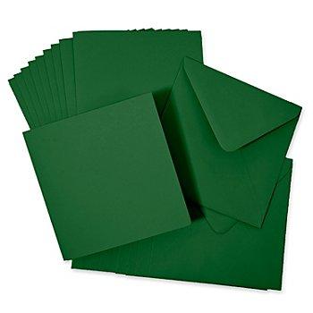 Doppelkarten & Hüllen, tanne, quadratisch, je 10 Stück
