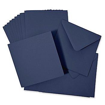 Set cartes carrées + enveloppes, bleu marine,10 cartes + 10 enveloppes