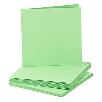 Doppelkarten & Hüllen, hellgrün, quadratisch, je 10 Stück