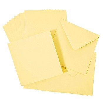 Doppelkarten & Hüllen, gelb, quadratisch, je 10 Stück
