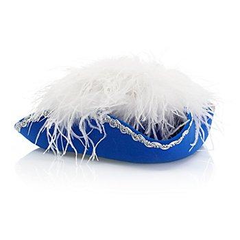 Funkenhut mit Straußenfedern, blau/weiß