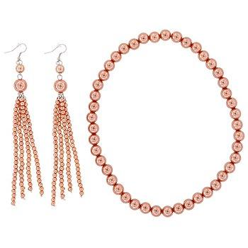 Perlen-Schmuckset, rosé