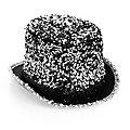 Chapeau haut-de-forme à paillettes, unisexe, argenté