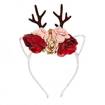 Reh-Haarreif mit Ohren und Rosen