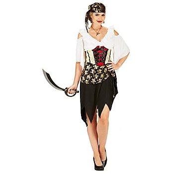 Piratin-Kleid für Damen, schwarz-gold