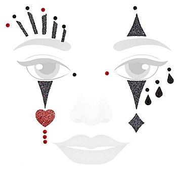 Face Art Tatouage 'Pierrot scintillant'