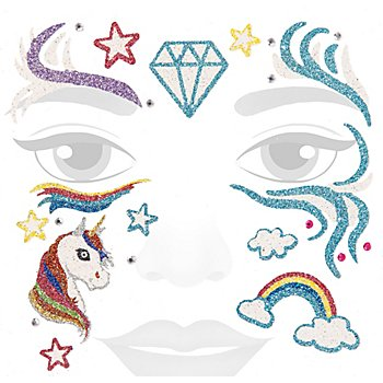 Face-Art-Tattoo 'Glitzer-Einhorn'