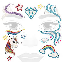 Face-Art-Tattoo 'Glitzer-Einhorn'