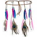 Indianer-Haarband mit Federn, blau/lila
