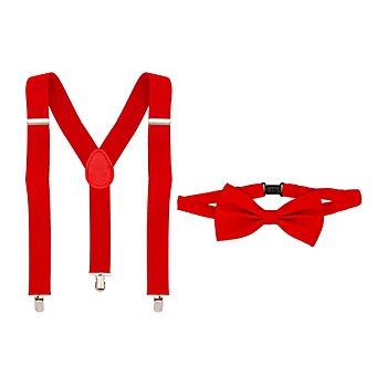 Set Hosenträger & Fliege, rot