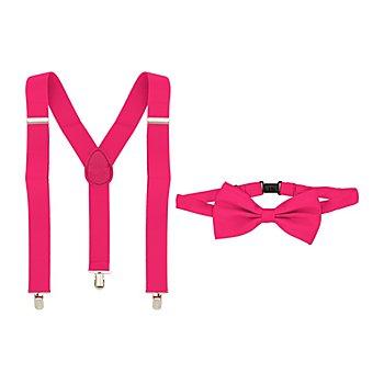 Set Hosenträger & Fliege, pink