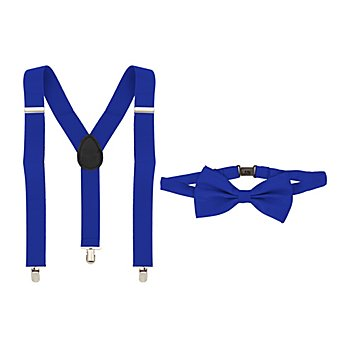 Set Hosenträger & Fliege, blau