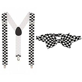 Ensemble bretelles et nœud papillon 'carreaux', noir/blanc