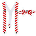 Ensemble bretelles et nœud papillon, rouge/blanc