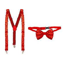 Ensemble bretelles et nœud papillon 'paillettes', rouge