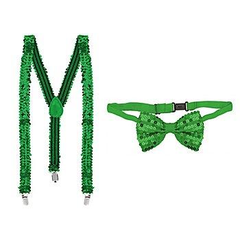 Ensemble bretelles et nœud papillon 'paillettes', vert